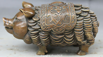 16CM Chinese Folk Bronze Zodiac Year Wealth Money Coins Pig Hog Animal Statue