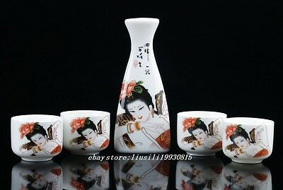 Chinese Colorful Porcelain Hand-Painted Woman Wineglass Set
