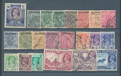 Burma 1937-40 sg. o24 MNH and range of 21 used, two with minor perf faults