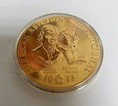 """1973 American Revolution Bicentennial Collectors Coin """" Gold In Color """""""