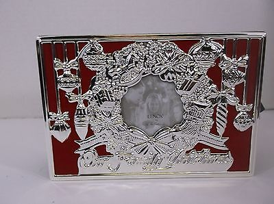 """Lenox Holiday """"Our FamilyChristmas"""" Photo Album Orig. Box Silver Plate Red"""