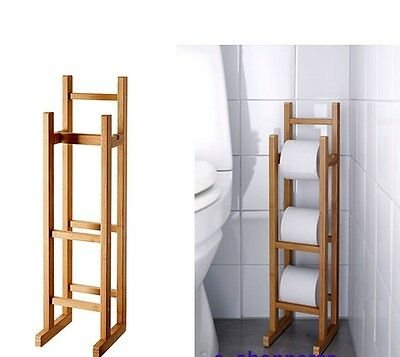 Bamboo Wood Wooden Toilet Roll Holder Free Standing Toilet Pepper Storage