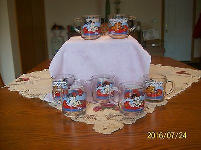 Garfield McDonald 1978 Vintage Glass Cartoon Comic Mugs Set Of 7