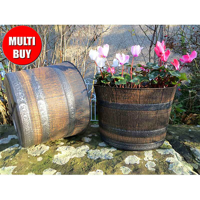Outdoor Garden Whisky Barrel Planter Flower Pot Tub Plants Wooden Patio Tub