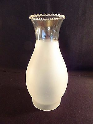 "Vintage Frosted Glass Chimney Shade Scalloped Top  9.5"" Tall 3.5"" Fitter"