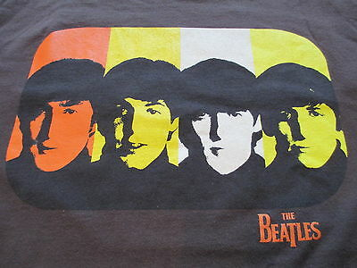 Vintage The Beatles Brown Yellow Orange White T Shirt M Medium L Large