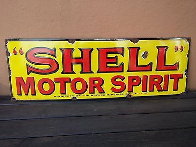 Sign SHELL MOTOR SPIRIT enamelled insegna Smaltata emailschild Plaque emaillee