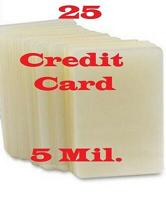 Credit Card 25 PK 5 mil Quality Laminating Pouch Sheets 2-1/8 x 3-3/8