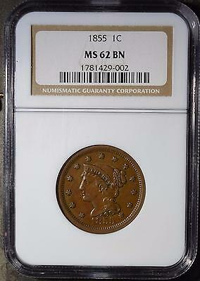 1855 NGC MS62 Large Cent Uncirculated Braided Hair Rare Copper Penny Ships FREE