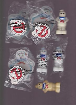 Vintage Ghostbusters 3 Packs of MIB Erasers & 4 Stay Puff Pencil Sharpeners MIB