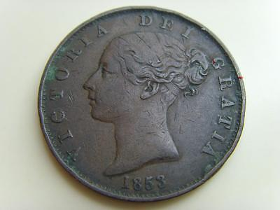 1853 Halfpenny Queen Victoria British Coin Great Britain Half Penny