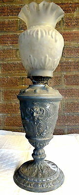 William IV - Victorian.Oil Lamp with Pewter Base & Decorated of People in a Boat