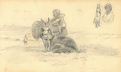 George E Corner, Packed Donkey, Normandy -Original 19th-century graphite drawing