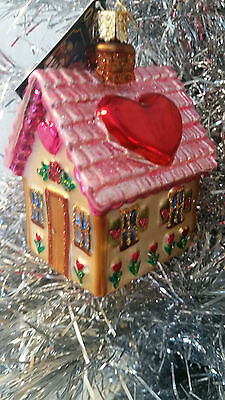 PINK SWEETHEART COTTAGE OLD WORLD CHRISTMAS, Valentine ORNAMENT 20066, Valentine