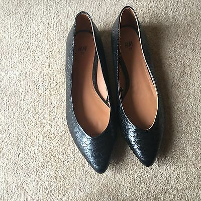 Womens Ladies H&M Black Pointed Leather Look Flat Shoes