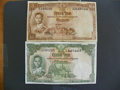 Thailand 10 and 20 baht notes