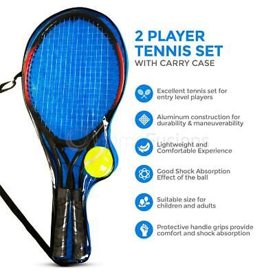 Children's Kids Metal Junior Tennis Set 2 Racket Raquets 2 Balls Outdoor Playset