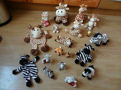 Bundle 19 x Plush GIRAFFES & ZEBRA Soft Toys 11 ins High max