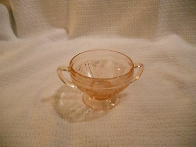 Jeannette Glass Co Pink Sharon (Cabbage Rose) Handled Sugar Bowl (no lid)