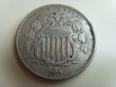 1869 Usa 5 Cents Nickel Coin United States Of America