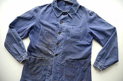 VTG 1950s French Faded Blue Cotton Work Chore Jacket Workwear