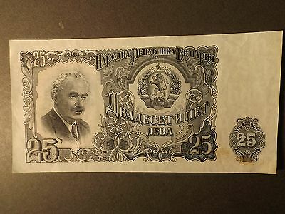Bulgaria 25 Leva Bank Note As Unc But Stained 1944