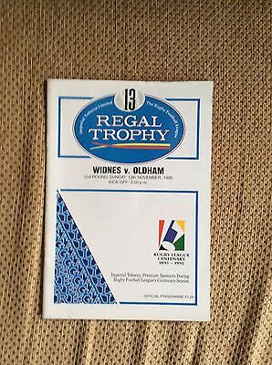 Widnes v Oldham programme(Regal Trophy 2nd Round) RLCentenary season,1995.