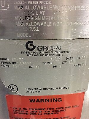 Groen EE-20 Steam Jacketed Kettle