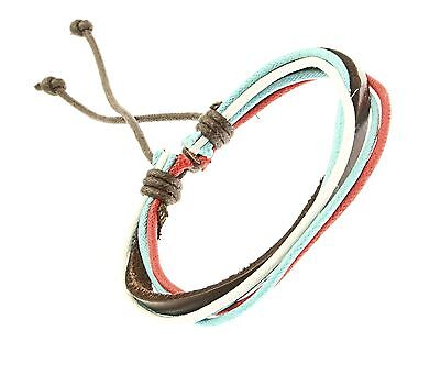 Leather and Cord Strap Bracelet Wristband Blue Red White Surf Surfer Adjustable