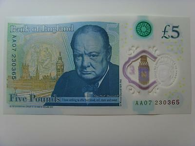 Aa07 230365 New £5 Polymer Note Uncirculated (Consecutive Numbers Availble)