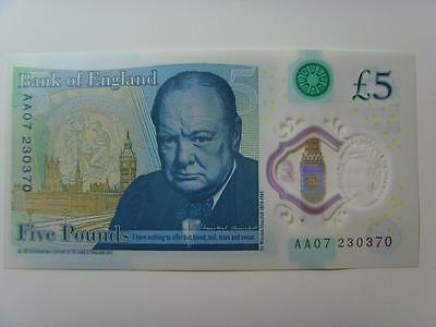 Aa07 230370 New £5 Polymer Note Uncirculated (Consecutive Numbers Availble)