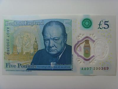 Aa07 230369 New £5 Polymer Note Uncirculated (Consecutive Numbers Availble)