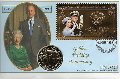 St Vincent & the Genadines 1997 GOLDEN WEDDING COIN FDC 0743 and 5 crown coin