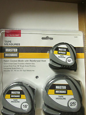 MASTER MECHANIC - 3 Piece TAPE MEASURES SET~  12' - 16' and 25' - L@@K!