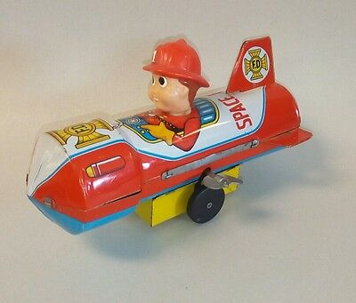 Vintage 1960's SPACE FIRE Chief Wind-up Tin Toy Spaceship ROCKET -Japan  N. MINT