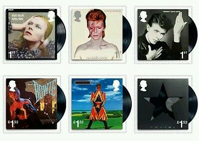 GB 2017 David Bowie Royal Mail Stamps set 6 Iconic Albums ,Pre Order stamps