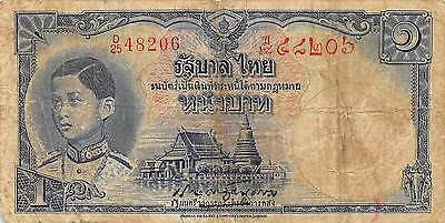 Thailand  1  Baht  ND. 1939  P 31a  Series D/25  Sign.# 16  Circulated Banknote