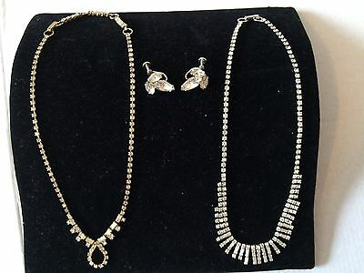 Two Jay Flex Rhinestone Necklaces and Pair Screw On Sterling Earrings