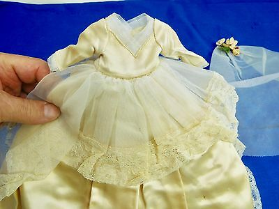 Antique Victorian White Silk / Lace Christening Dress For  Doll Baby