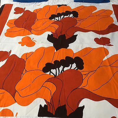 Orange White And Black Huge Flowers Vintage Fabric Like Marimekko 1970s Scandi