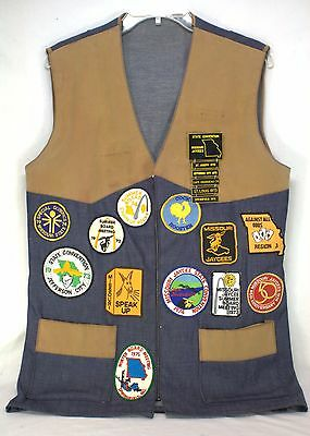 VINTAGE 1970's MISSOURI JAYCEES - 19 PATCHES ON HAND MADE VEST