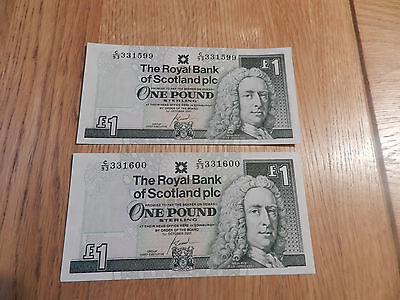 Pair Of Consec Royal Bank Of Scotland Special Numbers Scottish One Pound £1 Note