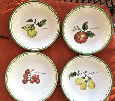"Set Of 4 Williams Sonoma Heirloom Tomatoes 9-1/2"" Individual Pasta Bowls"