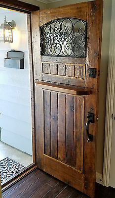 RUSTIC SOLID wood DOOR reclaimed lumber wrought iron Pre hung Dutch stained