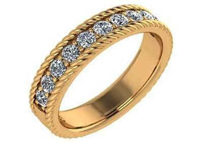 0.44ct Solid 14K Yellow Gold Wedding Band with Simulated Diamonds