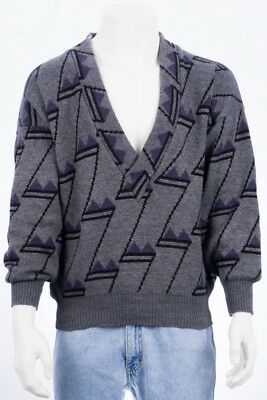 80s Vinage Mayser Pullover L 52 Woll-Mix wool jumper sweater 90s