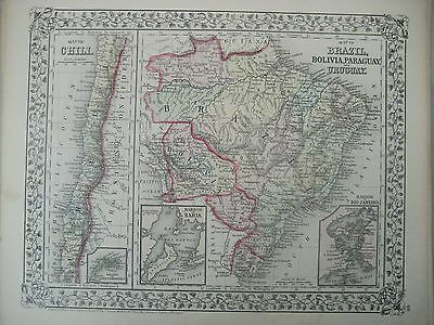 Mitchell's 1872 map, Chilli, Brazil, Bolivia, Uruguay and Paraguay