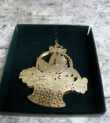 Vintage 24 Kt Gold Finish Christmas Ornament Silhouettes Made USA NOS