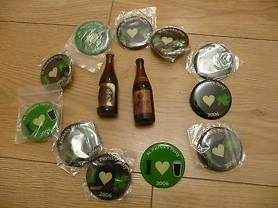St Patricks day badges x 11 + 1 x old Guinness + 1 x old Harp minatures.