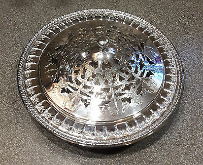 """Reed & Barton Silver Plate 10"""" Round Serving Bowl w Lid - - 1212 Riviera"""
